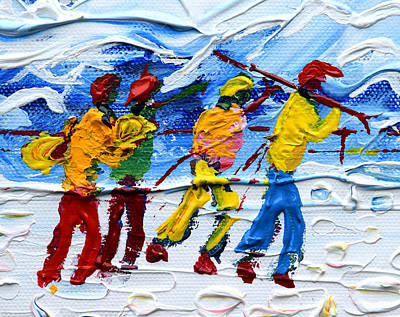 Snowboarder Painting - Off To Ski We Go by Pete Caswell