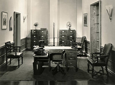 Empty Chairs Photograph - Office Interior by Underwood Archives