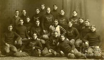 Official Photograph Of 1899 Michigan Wolverines Football Team Print by Celestial Images