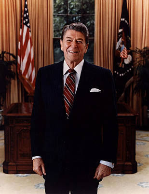 Official Portrait Of President Ronald Reagan 1985 Print by Mountain Dreams