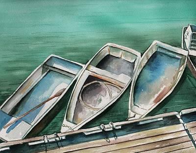 Waterscape Painting - Ogunquit Maine Skiffs by Brenda Owen