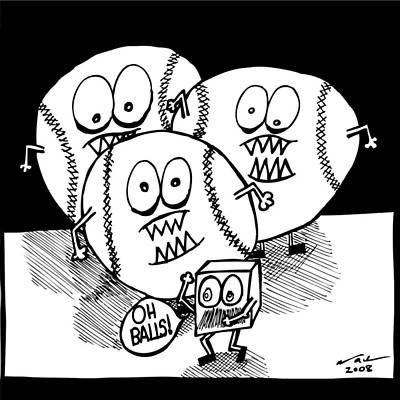 Baseball Art Drawing - Oh Balls by Karl Addison