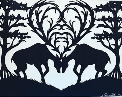 Scherenschnitte Drawing - Oh Deer, Oh Dear by Summer Porter