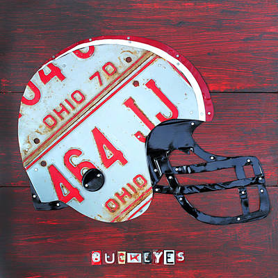 Helmet Mixed Media - Ohio State Buckeyes Football Helmet Recycled Vintage License Plate Art by Design Turnpike