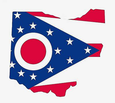 Stars And Stripes Mixed Media - Ohio State Map With Flag by Dan Sproul