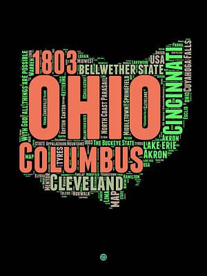 Cincinnati Digital Art - Ohio Word Cloud Map 1 by Naxart Studio