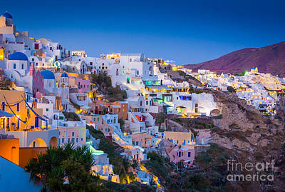 Oia Hillside Print by Inge Johnsson