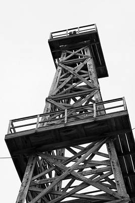 Oil Derrick In Black And White Print by Art Block Collections