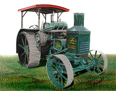Steam Tractor Painting - Oil Pull Tractor by Ferrel Cordle