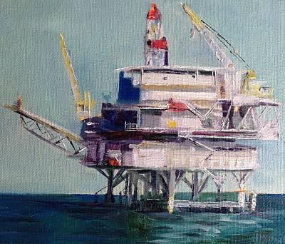 Sea Platform Painting - Oil Rig by Shannon Celia