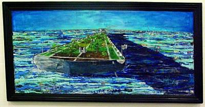 Etc. Mixed Media - Oil Tanker Island by Samuel Miller
