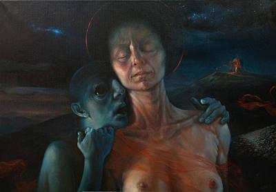 Night Angel Painting - Oil-whisperings by Graszka Paulska