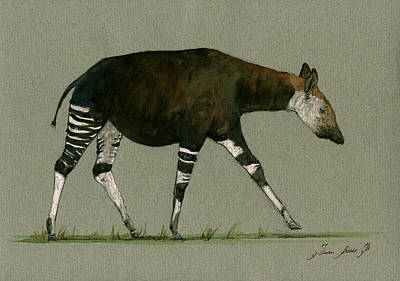 African Art Painting - Okapi Art Watercolor Painting by Juan  Bosco