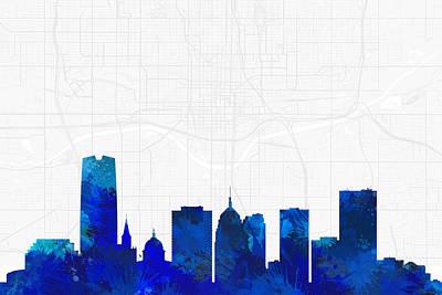 Splatter Digital Art - Oklahoma City Cityscape And Streetmap Blue Skyline by Jurq Studio