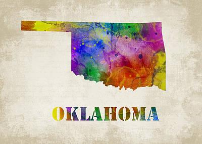 Map Digital Art - Oklahoma by Mihaela Pater