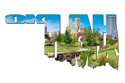 Skylines Photograph - Oklahoma Typographic Letters - Tulsa Oklahoma Skyline View From Central Centennial Park by Gregory Ballos