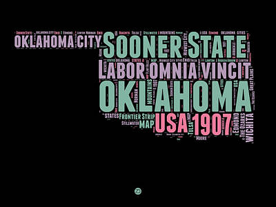 4th Of July Mixed Media - Oklahoma Word Cloud 1 by Naxart Studio