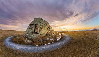 Sunset Photograph - Okotoks Big Rock Erratic by Dwayne Schnell