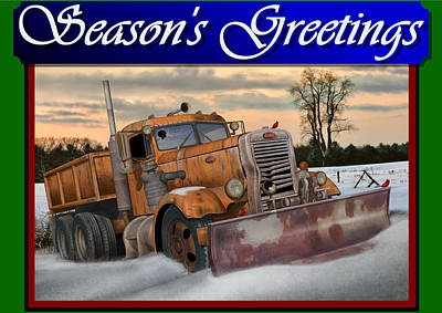 Old Trucks Digital Art - Ol' Pete Snowplow Christmas Card by Stuart Swartz