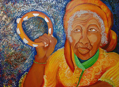 African American. Folk Art Painting - Ol Woman by Kenji Lauren Tanner