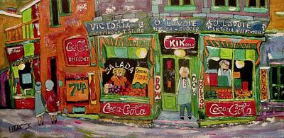 Painting - O.lavoie Epicier Grocery 3837 St. Jacques Montreal by Michael Litvack