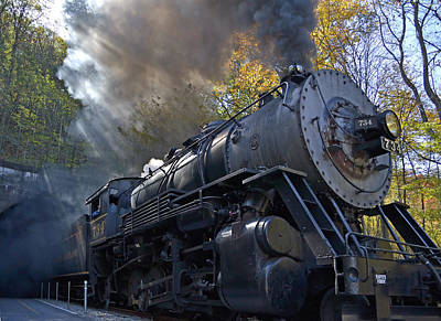 Locomotives Photograph - Old 734 Locomotive Train On The Western Maryland Scenic Railroad by Brendan Reals