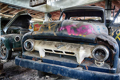 Old And Rusty Oldtimer Car - Abandoned Decay Print by Dirk Ercken
