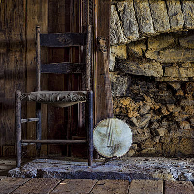 Empty Chairs Photograph - Old Banjo by Heather Applegate