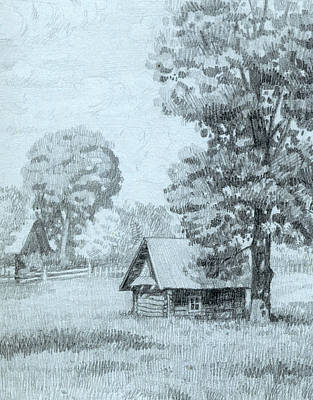 Old Barn Drawing - Old Barn by Elena Senina