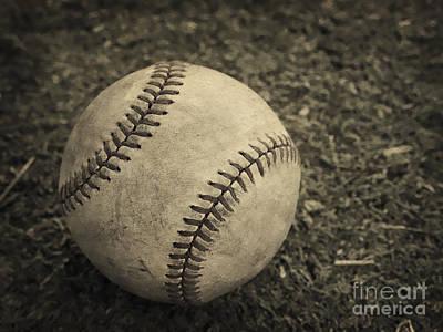 Lace Photograph - Old Baseball by Edward Fielding
