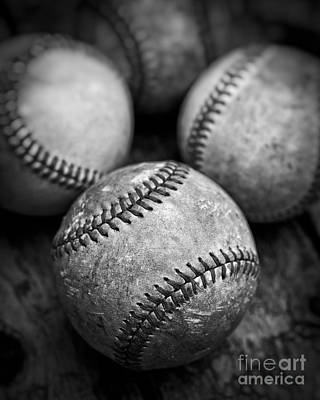 Photograph - Old Baseballs In Black And White by Edward Fielding