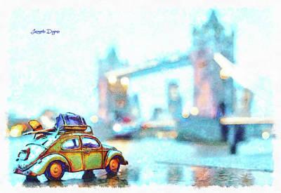 Vehicles Painting - Old Beetle Visiting London by Leonardo Digenio
