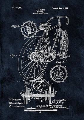 Bicycle Drawing - Old Bicycle Patent Illustration 1899 by Dan Sproul