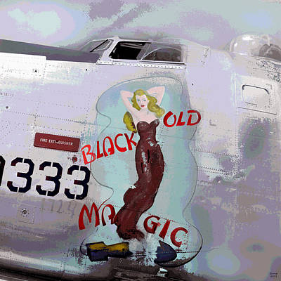 Pin Up Nose Art Mixed Media - Old Black Magic by Charles Shoup