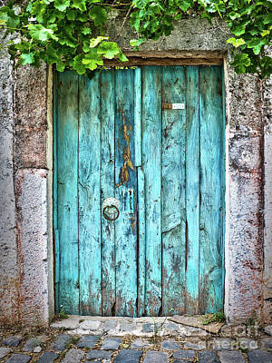 Street Art Photograph - Old Blue Door by Delphimages Photo Creations