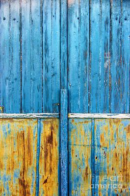 Old Blue Door Detail Print by Carlos Caetano