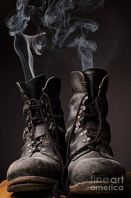 Black Boots Photograph - Old Boots With Smoke by Andreas Berheide