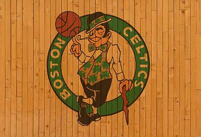 Basketball.boston Celtics Mixed Media - Old Boston Celtics Basketball Gym Floor by Design Turnpike