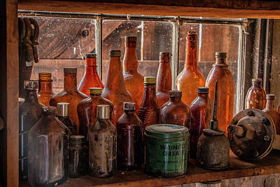Relic Glass Photograph - Old Bottles On The Windowsill by Teresa Wilson