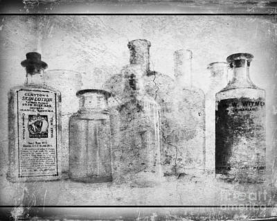 Old Bottles With Texture  Bw Print by Barbara Henry