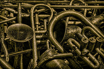 Trombone Photograph - Old Brass Musical Instruments by Dave Gordon