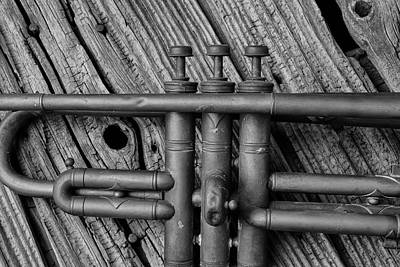 Knotholes Photograph - Old Brass Trumpet by Garry Gay