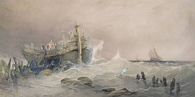 Gull Seagull Painting - Old Breakwater by Charles Bentley