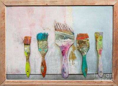 Anahi Decanio Mixed Media - Old Brushes by WALL ART and HOME DECOR