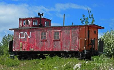 Old Canadian National Caboose Original by Crystal Loppie