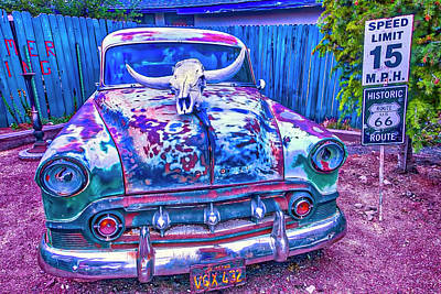 Old Car With Steer Skull Print by Garry Gay
