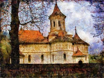 Old Church With Red Roof Print by Jeff Kolker