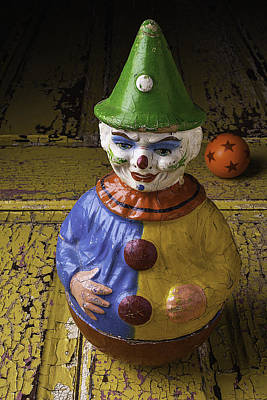 Clown Photograph - Old Clown And Ball by Garry Gay