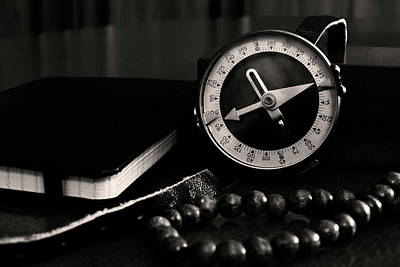 Black Photograph - Old Compass by Konstantin Bibikov