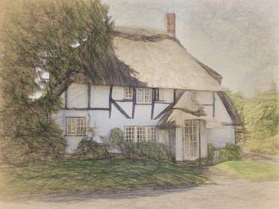 Countryside Digital Art - Old Cottage, Micheldever by Jayne Wilson